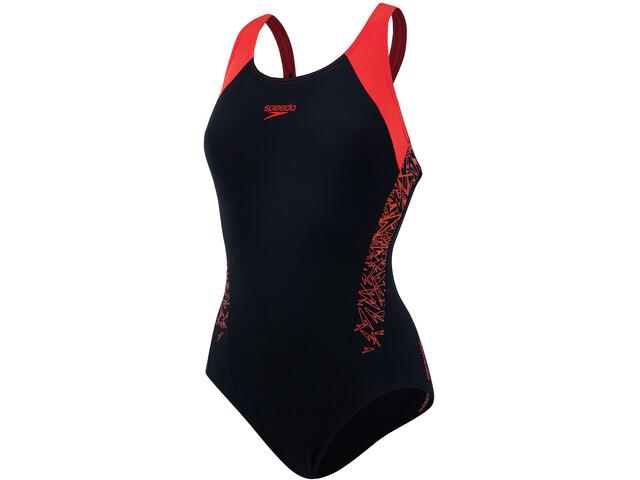 speedo Boom Splice Racerback Swimsuit Women black/hot orange